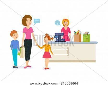Shop, store, supermarket interior, healthy products. Retail woman cashier and woman with children with purchases. Family shopping in supermarket. Vector illustration isolated in cartoon style.
