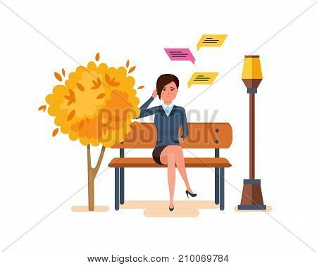 Autumn park of rest, entertainment, walking park. Autumn city park with seasonal leaves. Girl resting in park on bench, communicates by phone, through messenger, social networks. Vector illustration.