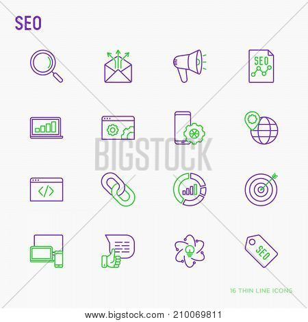 SEO and development thin line icons set: search, share, e-mail, coding, programming, link, analytics. Vector illustration.