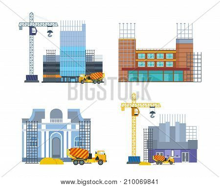 Building work process with houses and construction machines. Urban construction. City, house. Building houses premises with help of special equipment, crane, concrete mixer. Vector illustration.