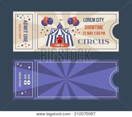 Set of tickets for circus performances, events, in colorful design, with text and decorations illustrations. Ticket for entrance to circus, templates, show performances, vintage. Vector illustration.