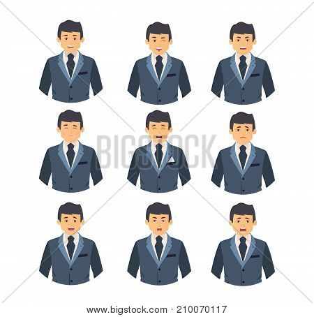 Set of business characters people, man, in a business suit, clothes, with different emotions on the face. Facial expression. Male avatar. Vector illustration isolated on white background.
