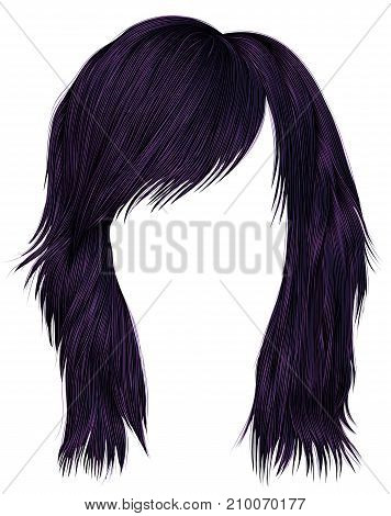 trendy  woman  hairs purple color . medium length . beauty style . realistic  3d .