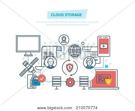 Cloud storage and computing. Network cloud service. Computer device, storage security, it industry, file storage, media, graphics, data protection. Illustration thin line design of vector doodles.