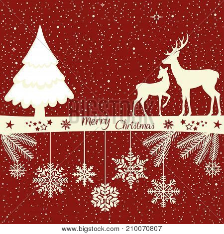 Christmas greeting card with deers on red background