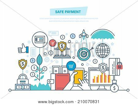Safe payment. Protection of data, operations, finance. Guaranteed security of investments, cash deposits, savings. Methods payment, money transfers. Illustration thin line design of vector doodles.