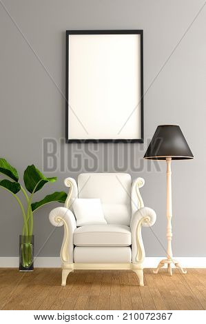 Minimal living room interior with white fabric armchair, cabinet, coffee cup and plants on empty wall background.3d rendering.
