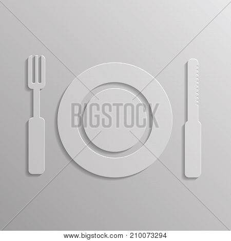 illustration with fork and spoon icon isolated on grey background