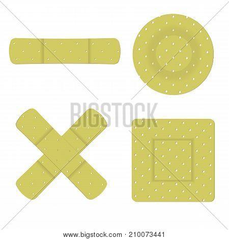 colorful illustration with set of adhesive bandage plasters isolated on white background