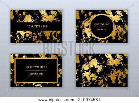 Set of white black and gold business cards templates. Modern abstract design. Hand drawn ink pattern. Brush texture.