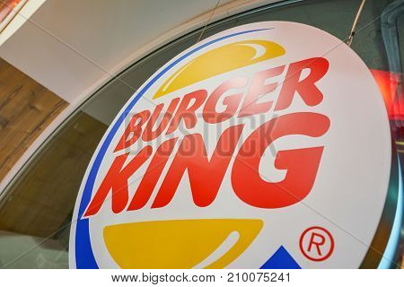 SAINT PETERSBURG, RUSSIA - CIRCA OCTOBER, 2017: close up shot of Burger King sign. Burger King is an American global chain of hamburger fast food restaurants.