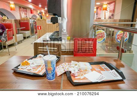 SAINT PETERSBURG - CIRCA OCTOBER, 2017: trays at Burger King restaurant. Burger King is an American global chain of hamburger fast food restaurants.