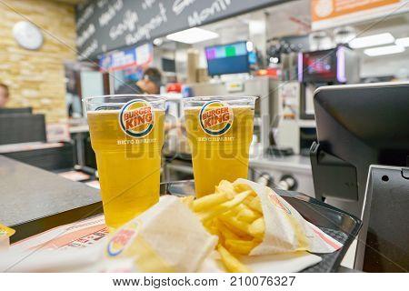 SAINT PETERSBURG - CIRCA OCTOBER, 2017: beer on a tray at Burger King restaurant. Burger King is an American global chain of hamburger fast food restaurants.