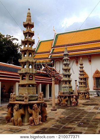 Stone pillars at Wat Pho in Bangkok