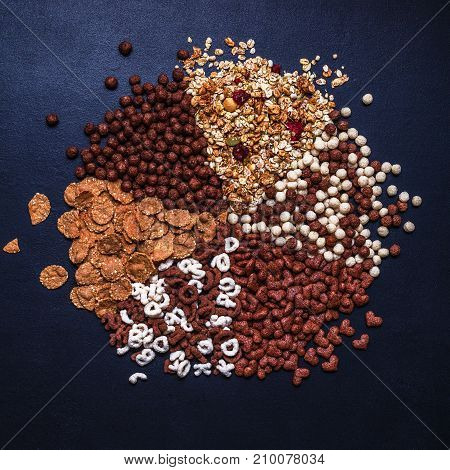 Dry Breakfast, Granola, Muesli On A Black Background, Square, Top View, Copyspace, Flat Lay