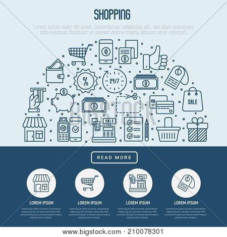 Shopping concept with thin line icons in half circle. Template for web page of online shop. Vector illustration.