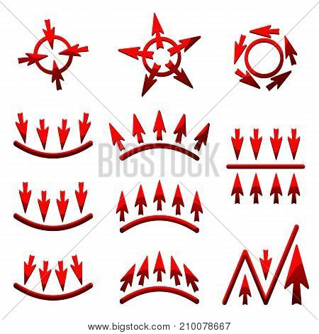 set of isolated pictograms of arrows on white background