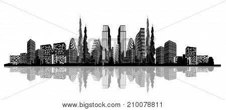Vector illustration of silhouette of an abstract city