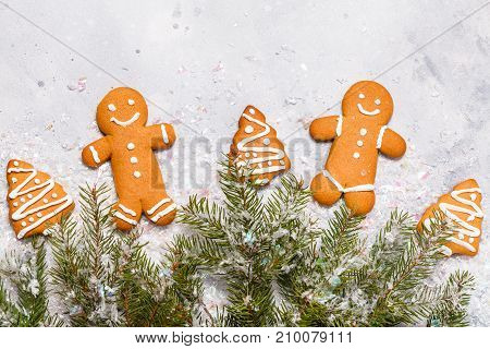 Christmas Ginger Cookies On A Gray Background, Horizontal