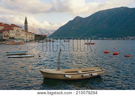 Autumn evening of Bay of Kotor. Perast town, Montenegro