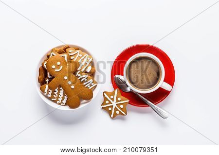 Hot Chocolate In A White Cup On A Red Plate With A Fragrant Biscuit On A White Background.