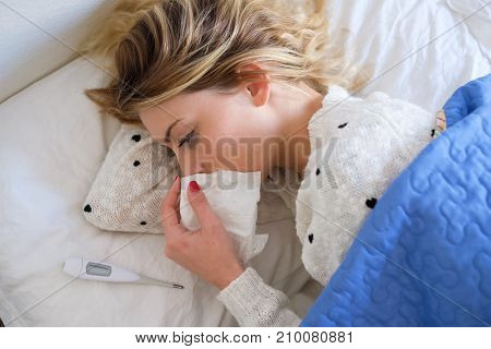Young Girl Is Crying And Lying In The Bed