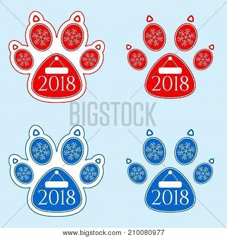 New Year Sticker Of Dog Paw