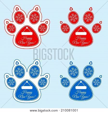 New Year Banner Of Dog Paw
