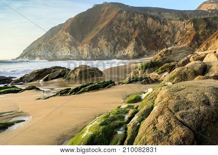 Northern California Rugged Coastline. Gray Whale Cove State Beach, Half Moon Bay, San Mateo County, California, USA.
