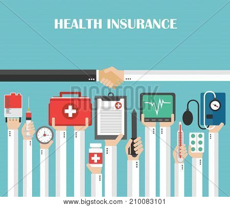 Health Insurance concept modern flat design.Vector illustration