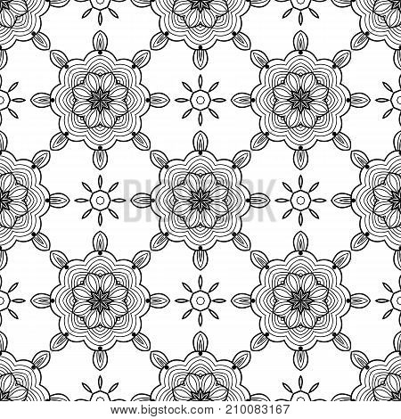 Abstract black and white seamless pattern. Hand drawn vector illustration