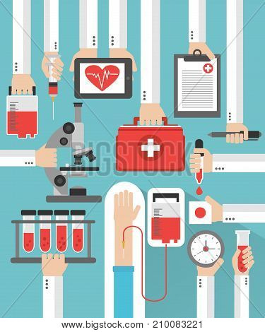 Medical blood transfusion flat concept design.Vector illustration