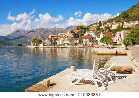 View of Perast town on a sunny autumn day. Bay of Kotor, Montenegro