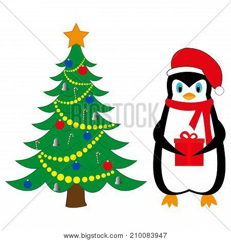 penguin with a gift near the New Year tree