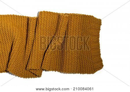 knitted yellow scarf isolated on white background