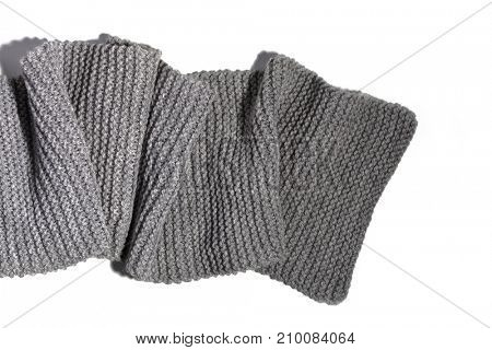 knitted wool grey scarf isolated on white background