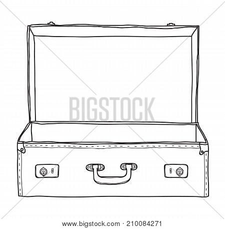 Suitcase vintage empty suitcase hand drawn vector line art illustration