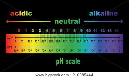 scale of ph value for acid and alkaline solutions, vector isolated or black background