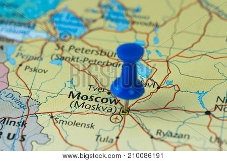 Moscow Pinned in a closeup map for football world cup  in Russia.
