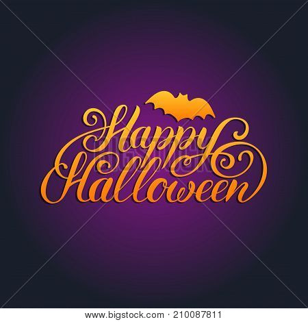 Happy Halloween lettering with bat vector illustration for party invitation card, poster. All Saints Eve background