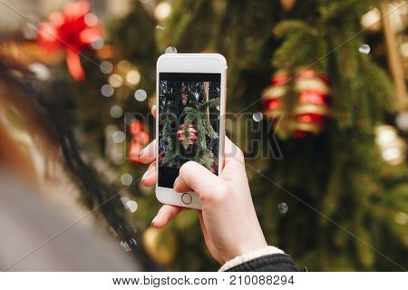Winter Holidays, Girl Taking Picture By Phone