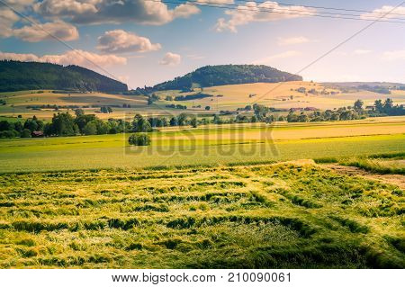 View of the countryside with fields and forests in the Land of Baden-Württemberg