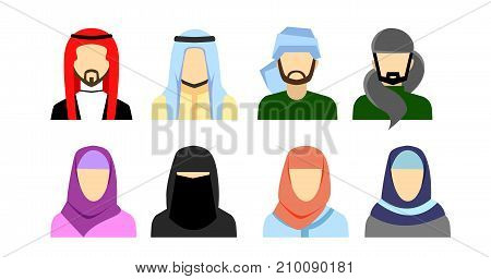 Arabic avatars in flat style. Arabic man and woman icons set. Vector illustration
