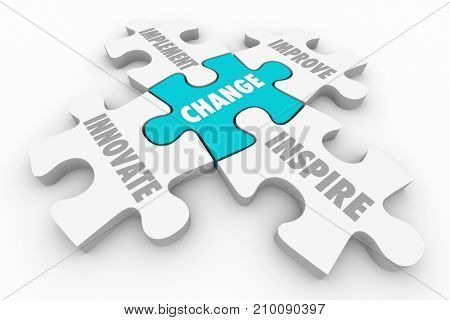 Change Innovate Improve Implement Puzzle Pieces 3d Illustration