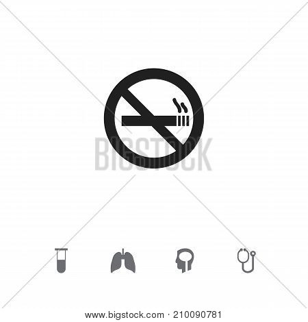 Set Of 5 Editable Hospital Icons. Includes Symbols Such As Stop Smoke, Doctor Tool, Intelligence And More