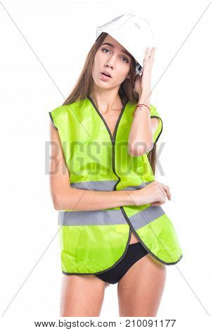 Beauty Brunette Young Woman In Builder Vest And Black Bikini