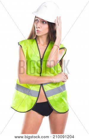Beauty Brunette Young Woman In Builder Outfit And Black Bikini
