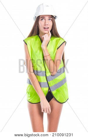 Studio Portrait Of A Girl In A Bathing Suit And A Yellow Construction Vest