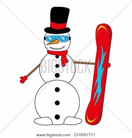 snowman snowboarder on white background vector illustration