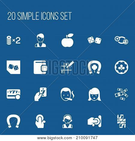 Set Of 20 Editable Casino Icons. Includes Symbols Such As Greenback, Trader, Gambling Cube And More